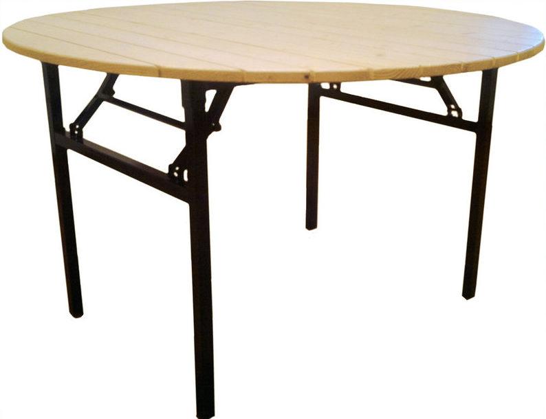стол деревянный рейками круглый